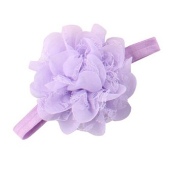 DHS Infant Toddler Girl Chiffon Flower Headband Floral Hair Band Headdress Light Purple - intl