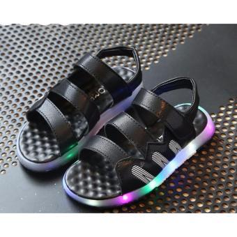 Giày bé trai sandal 3 quai ngang có đèn SC018 (Đen)