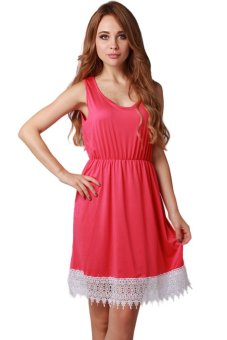 LALANG Sleeveless Round Collar Lacework Dress (Red) - Intl