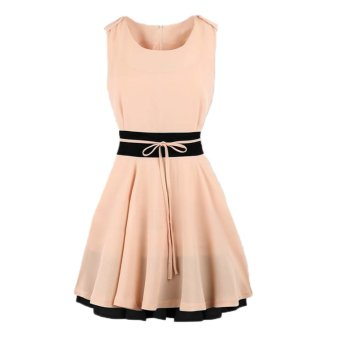 New Fashion Women Chiffon Dress Contrast Waist Color Block Round Neck Sleeveless Slim Dress Pink/Dark Blue - Intl