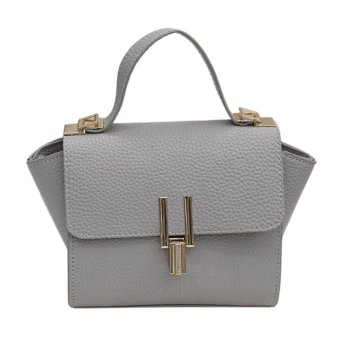 Women PU Leather Litchi Pattern Cross body bags(Gray) - intl