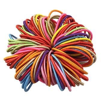 100 PCS Kids Girls Bright Solid Color Elastic Hair Band Rope Ring Tie Ponytail Holder Accessories Christmas Gift Random Color - intl