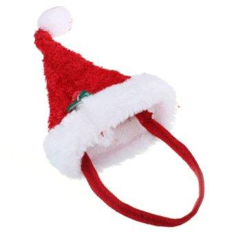 2Pcs Set Pet Dog Cat Xmas Santa Hat & Collar With Bells Christmas Costume Dress - Intl