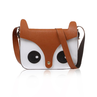niceEshop Cute Fox Owl PU Leather Crossbody Satchel Animal Handbag Brown
