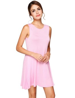 Cyber Lace Up V Back Sleeveless Solid Shift Dress ( Pink ) - intl