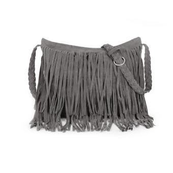 Celebrity Fringe Tassel Bag PU Faux Suede Shoulder Messenger Cross Body Tote women girls' Handbag Grey