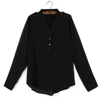 ZANZEA Womens Blouse Chiffon Casual Loose Shirt Lady Long Sleeve Tops  Tee Black New