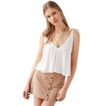 Preppy Style Tank Top Women Lace-Up Bowtie Loose-Fitting Solid Color (White) - Intl