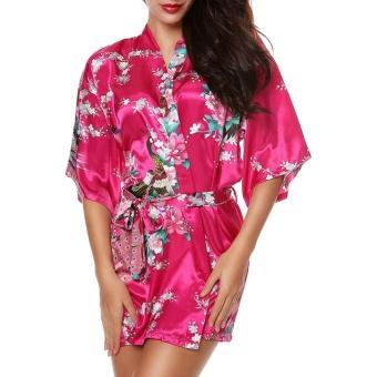 Moonar Sexy Women Silk Print Kimono Gown Half Sleeve Sleepwear Cardigan Bath Robe ( Rose Red ) - intl