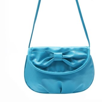 Women Bag Shoulder Bowknot Satchel Body Tote Handbag Blue - intl