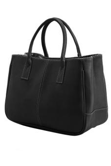 Fashion Women Korea Simple Style PU leather Clutch Handbag Bag Totes Purse Black - intl