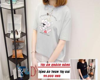 Áo Thun Nữ In Hình Glance Cá Tính D364 Trần Doanh ( Màu Xám ) + Tặng Áo Thun In Hình T&D Cao Cấp