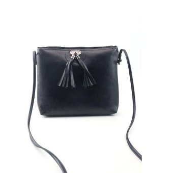 Women Fashion Tassel Mini Handbag Shoulder Bag Black - intl