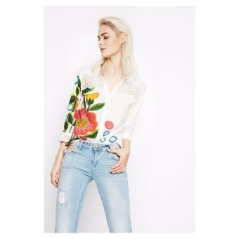 Áo Sơ Mi Nữ Tay Dài Thêu Hoa Desigual Shirt Floral 72C2EG81000