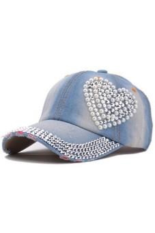 Moonar Women Rhinestone Heart Shape Denim Baseball Hats Cap (Light Blue)