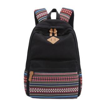 Unisex Canvas Backpack Rucksack School Satchel Hiking Bag Bookbag Black - Intl