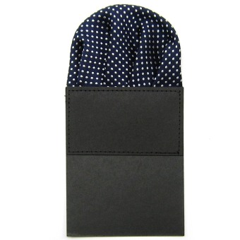 Classic Men's Suit Wedding Pocket Square Folded Handkerchief Holder Dot Design for Bridegroom Groomsman Navy Blue - intl