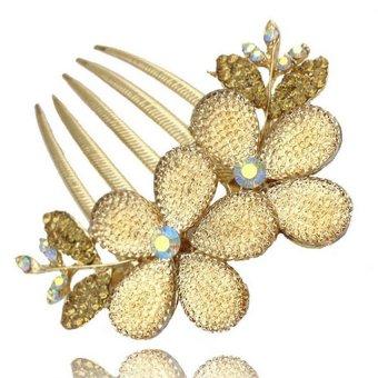 Moonar Women Sweet Flower Rhinestone Insert comb Hair Clip (Gold) - Intl