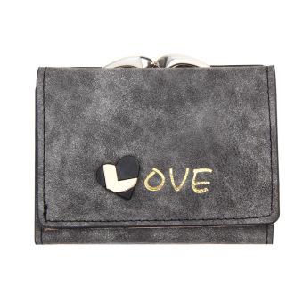 Fashion Women Lady Clutch PU Leather Wallet Lady Card Holder Purse(Black)