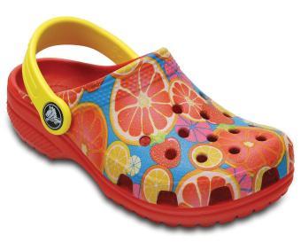 Giày lười nữ Crocs Classic Fruit Clog K Flame 204114-8C1 (Đỏ)