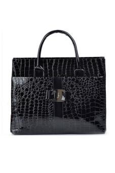 Women Ladies Large Capacity Stone Pattern PU Leather Tote Handbag Shoulder Messenger Bag Black (Intl) - intl