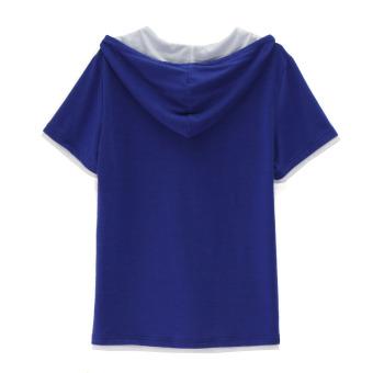 Fashion Men Casual Hoodie Short Sleeve T-Shirt - Intl