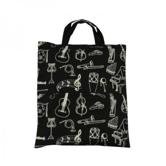 BolehDeals Women Girls Casual Cotton Music Notes Tote Shopper Bag Shoulder Handbag 7 - intl