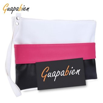 Lady Color Block Zipper Portable Clutch Bag - intl