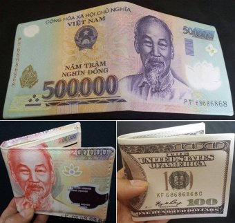 Bộ 3 ví da nam in hình tiền tệ (500k 200k 100$ cổ điển)