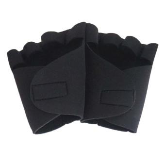 Fancyqube Non skid Half Finger Mitten Sports Safety Men Weightlifting Gloves (Black)
