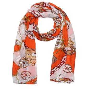 Cyber New Fashion Women Novel Printing Long Soft Casual Lightweight Silk Feeling Chiffon Voile Ccarf ( Orange ) - intl