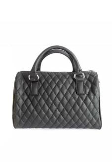 Women Ladies Quilted Pattern PU Leather Tote Handbag Shoulder Messenger Bucket Bag Black (Intl) - intl
