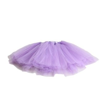 Girl 3 Layer Bouffant Gauze Skirt Purple - intl