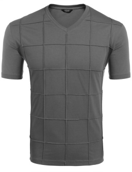 Cyber Men's V-Neck Button Short Sleeve Solid Plaid Summer Casual T-Shirt ( Grey ) - intl