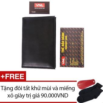 Ví đựng card visit da thật màu đen Da Giày Việt Nam VNLL0AZA2QD (Đen) + Tặng đôi vớ và miếng xỏ giày