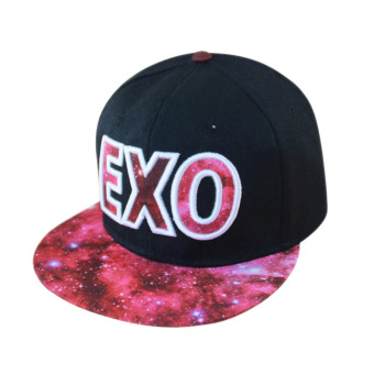 Fashion EXO Adjustable Snapback Hip-hop Baseball Cap Hat Unisex Red (Intl)