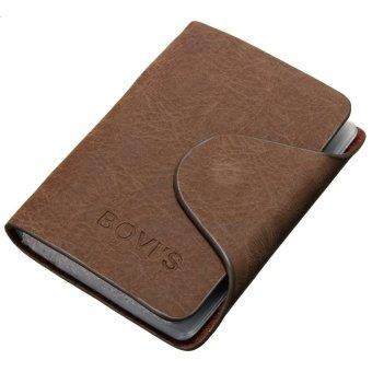 Men Leather Business Credit Card Case ID Pocket Mini Wallet Holder Bag 20 Slots Light Coffee - intl