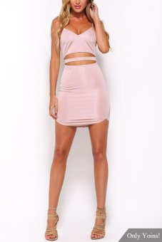 YOINS Sexy Sleeveless Backless Mini Dress with Adjustable Straps - intl