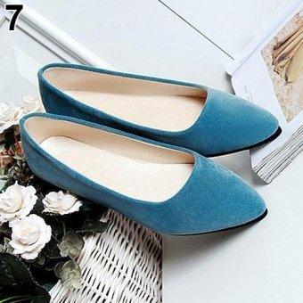 Bluelans Women's Fashion Slip-on Metal Decor Elegant Pointed Toe Shoes 8.5 (Blue) - intl