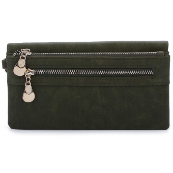 Dull Polish Horizontal Clutch Waist Wallet(Blackish green) - intl