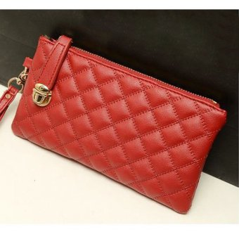 Women Vintage Purse PU Leather Rhombus Pattern Red - intl