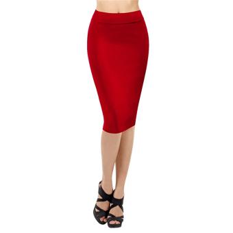 Fancyqube High Waist Pencil Skirt Career Package Hip Skirt Red