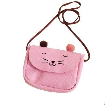 Moonar Mini Cute Cat women kids Single-Shoulder Snack bag (Pink) - intl
