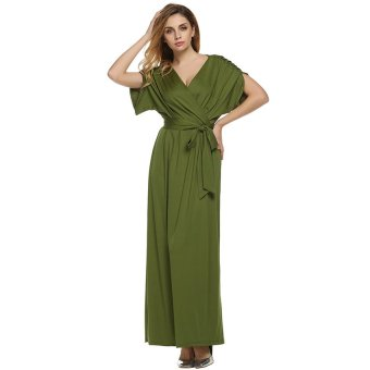 Cyber ANGVNS Women Lady Batwing Sleeve Deep V Neck Solid Maxi Long Dress Party Evening Full Gown with Belt (Green) - Intl