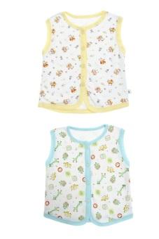Bộ 2 áo khỉ bông trẻ em Nanio A0002-Vxn (Vàng Xanh Nhạt)
