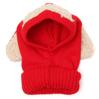 Winter Beanie Baby Kids Boy&Girl Warm Hat Hooded Scarf Earflap Knitted Wool Cap Red (Intl)
