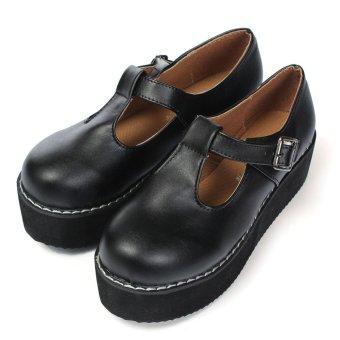 Woman PU Leather T-Straps Round Toe High Platform Shoes Black - Intl