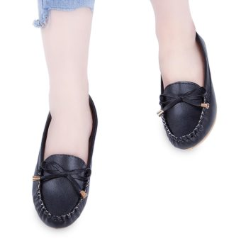 Casual Solid Color Round Toe Bowknot Flat Shoes(Black) - intl
