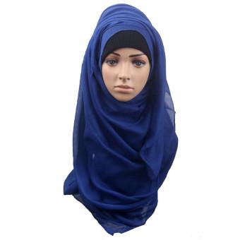 Fashion Muslim Women Shawl Scarf Head Cover Headscarf Muffler Blue