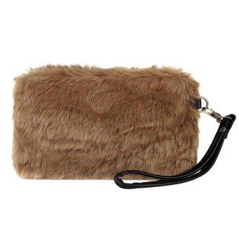 Linemart Fashion Women's Elegant Clutch Bag Faux Fur Handbag Wallet Candy Color Clutch ( Brown ) - intl